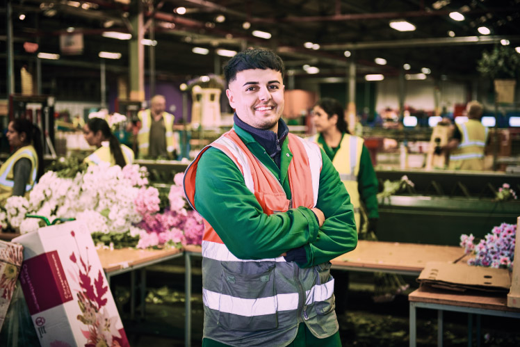 Richard, Manufacturing Degree Apprentice stood at FlowerWorld